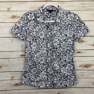 Boden Floral Button Up Down Short Sleeve Blouse